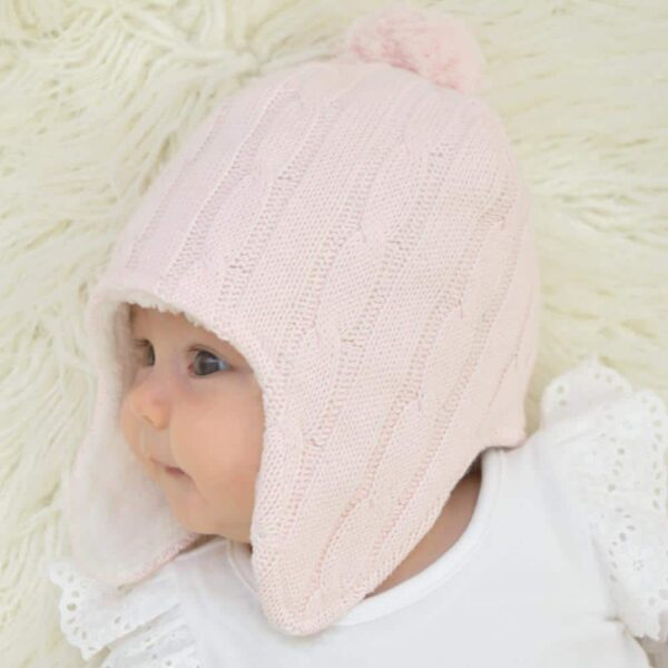 Living Textiles-9500065-Cable Knit Sherpa Pompom Beanie - Blush Pink 0-6mths-1