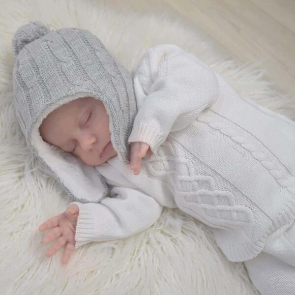 Living Textiles-9500067-Cable Knit Sherpa Pompom Beanie - Grey Marle 0-6mths-1