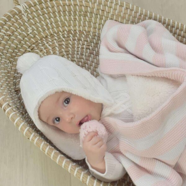 Living Textiles-9500061-Cable Knit Sherpa Pompom Beanie - Pure white 0-6mths-1