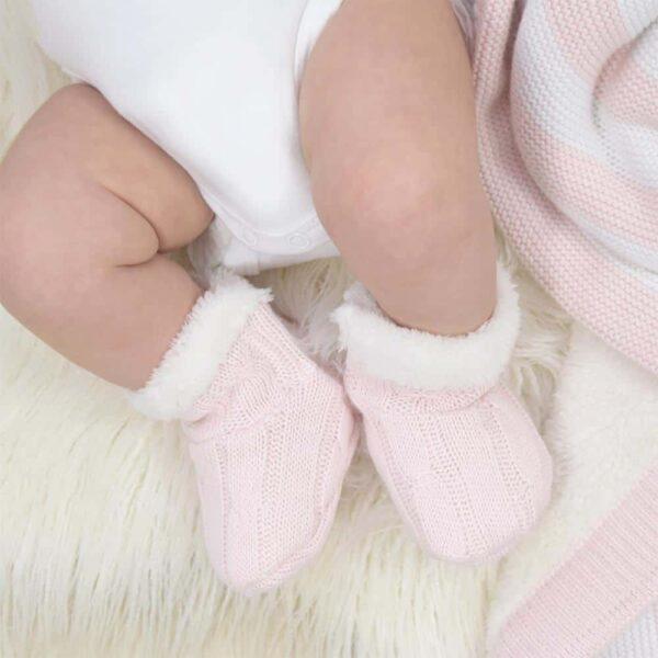 Living Textiles-9500075-Cable Knit Sherpa Booties - Blush Pink 0-6mths-1