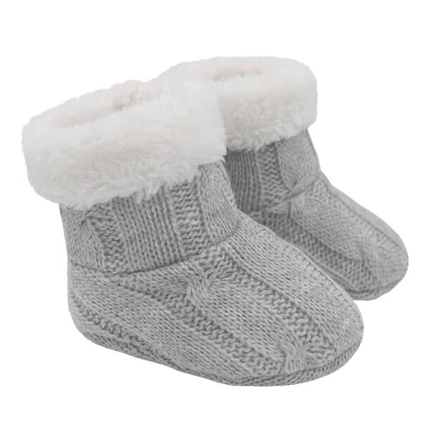 Living Textiles-9500077-Cable Knit Sherpa Booties - Grey Marle 0-6mths-0