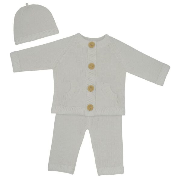 Living Textiles-9500041-3pc Cotton Knit Cardigan- Pant and Beanie Set - Ivory-1