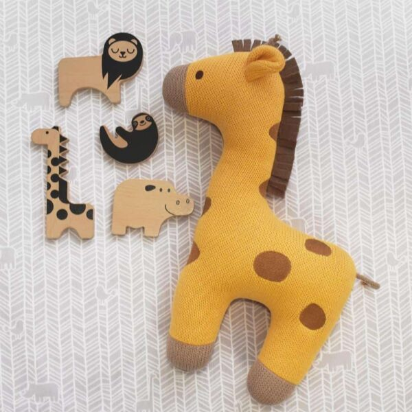 Living Textiles-Fitted Sheet - Animal Crackers-1