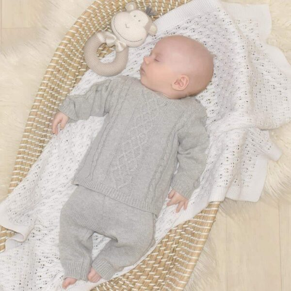 Living Textiles-9500057-2pc Cable Knit Sweater and Pant Set - Grey Marle-0