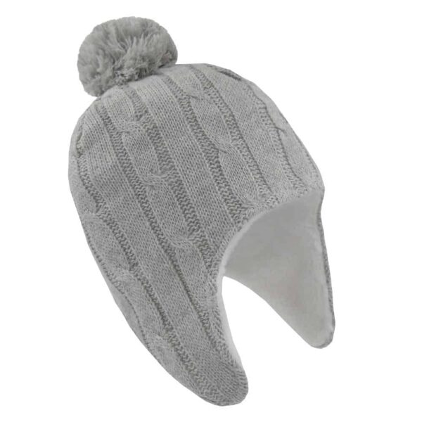 Living Textiles-9500067-Cable Knit Sherpa Pompom Beanie - Grey Marle 0-6mths-0