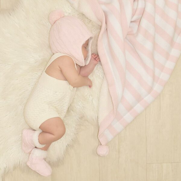 Living Textiles-9500075-Cable Knit Sherpa Booties - Blush Pink 0-6mths-2