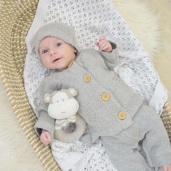 Living Textiles-9500047-3pc Cotton Knit Cardigan- Pant and Beanie Set - Grey Marle-0