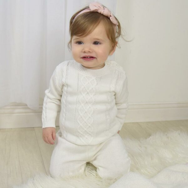 Living Textiles-9500051-2pc Cable Knit Sweater and Pant Set - Ivory-0
