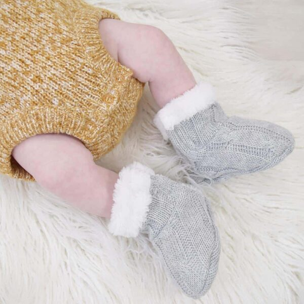 Living Textiles-9500077-Cable Knit Sherpa Booties - Grey Marle 0-6mths-1
