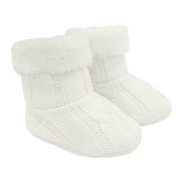 Living Textiles-9500079-Cable Knit Sherpa Booties - Ivory 0-6mths-0