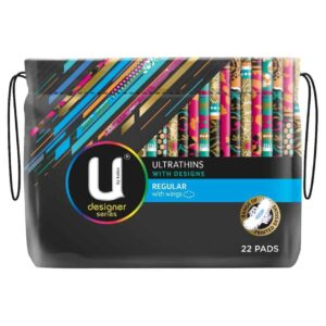 U By Kotex Ultrathin Designer Pads Regular Winged 22s-2068
