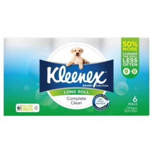 Kleenex Complete Clean Toilet Tissue Long Roll 6 pack, 270 sheets-1929
