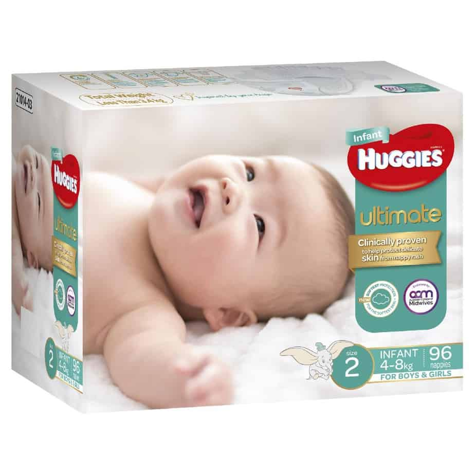 Huggies Ultimate Nappies Size 2 Unisex Jumbo 96s (Infant)-11079