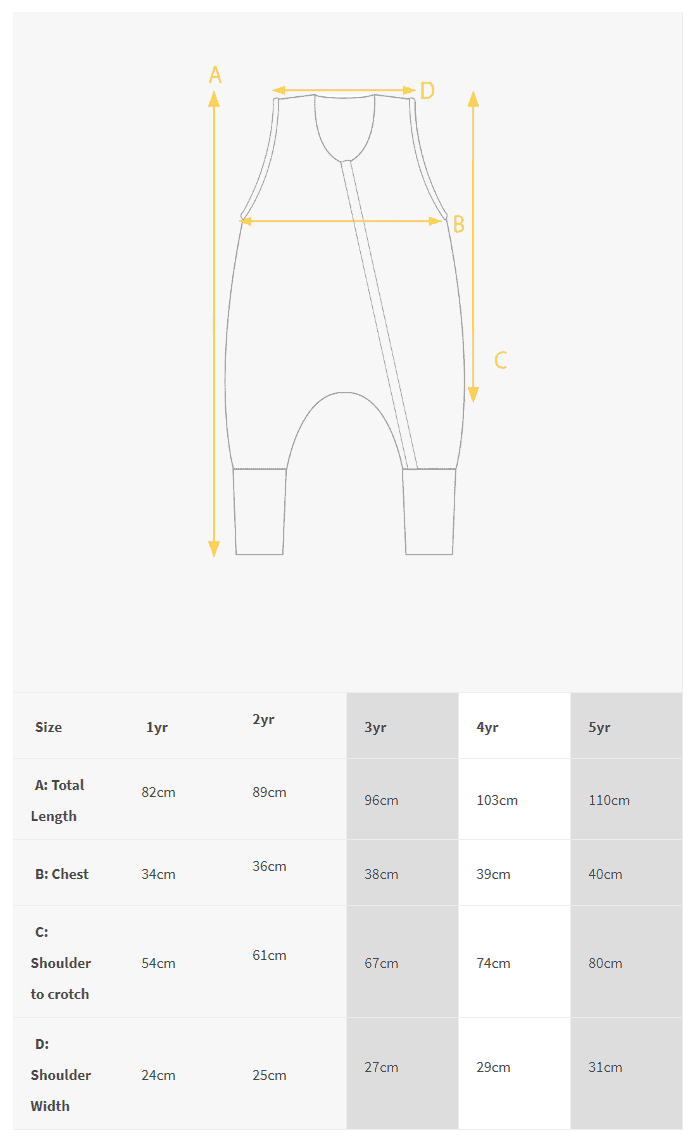 size chart woolbabe sleeping suit